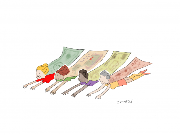 A cartoon of four women dressed as superheroes, flying in a row, with their capes flowing behind them. The capes are made of monetary bills.
