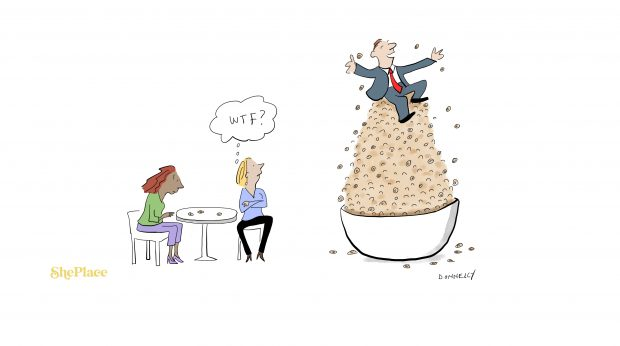 """A cartoon of a man sitting a top a huge mountain of Cheerios, while two women look at their three little Cheerios. One woman is looking at the man with the thought bubble """"WTF?"""""""