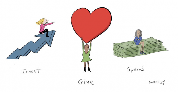 A cartoon of three women. One is sitting on an arrow trending upwards. One is holding a big red heart above her head. One is sitting on a pile of money bills.