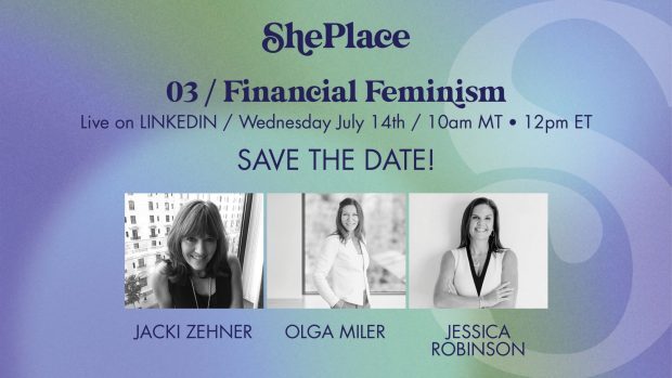 A save the date graphic with headshots of Jacki Zehner, Olga Miler, and Jessica Robinson